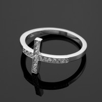 White Gold Diamond Pave Sideways Cross Ring