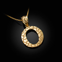 "Yellow Gold Nugget Initial Letter ""O"" Pendant Necklace"