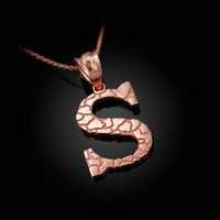 "Rose Gold Nugget Initial Letter ""S"" Pendant Necklace"