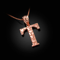 "Rose Gold Nugget Initial Letter ""T"" Pendant Necklace"