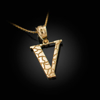 """Yellow Gold Nugget Initial Letter """"V"""" Pendant Necklace"""