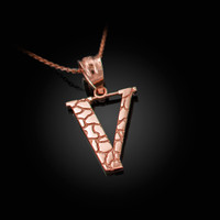 "Rose Gold Nugget Initial Letter ""V"" Pendant Necklace"