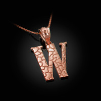 "Rose Gold Nugget Initial Letter ""W"" Pendant Necklace"