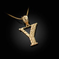 "Yellow Gold Nugget Initial Letter ""Y"" Pendant Necklace"