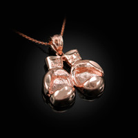 Rose Gold Boxing Gloves DC Pendant Necklace