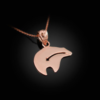 Rose Gold Zuni Bear Heartline Arrow  Charm Necklace