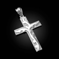 White Gold Flaming Cross Pendant