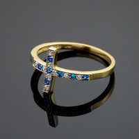 Gold Diamond Sideways Cross Ring with Sapphire