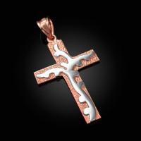 Two-Tone Rose Gold Flaming Cross Pendant