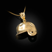 Yellow Gold Baseball Helmet DC Charm Necklace