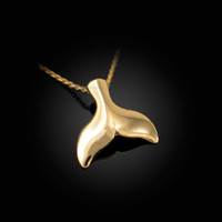 Polished Yellow Gold Whale Tail Charm Necklace