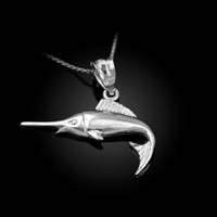 White Gold Marlin Fish Charm Necklace