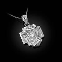 White Gold Jesus Face Cross DC Charm Necklace