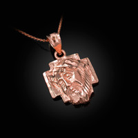Rose Gold Jesus Face Cross DC Charm Necklace