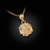 Yellow Gold Tiny Jesus Face Cross DC Charm Necklace