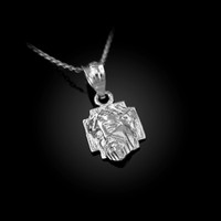 White Gold Tiny Jesus Face Cross DC Charm Necklace