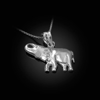 Polished White Gold Elephant Charm Necklace