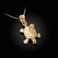 Yellow Gold Hawaiian Honu Sea Turtle Charm Necklace