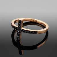 Rose Gold Sideways Cross Black Diamond Ring
