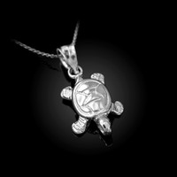 White Gold Hawaiian Honu Sea Turtle Charm Necklace
