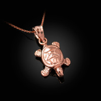 Rose Gold Hawaiian Honu Sea Turtle Charm Necklace