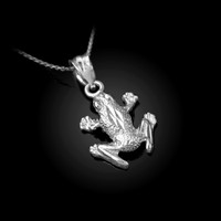 White Gold Textured DC Frog Charm Necklace