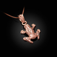 Rose Gold Textured DC Frog Charm Necklace