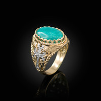 Yellow Gold Armenian Cross Genuine Amazonite Filigree Statement Ring