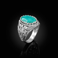 White Gold Armenian Cross Genuine Amazonite Filigree Statement Ring