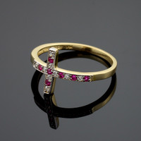 Gold Diamond Sideways Cross Ring with Rubies