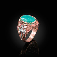 Rose Gold Armenian Cross Genuine Amazonite Filigree Statement Ring