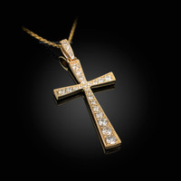 Diamond Studded Solid Yellow Gold Cross Pendant Necklace
