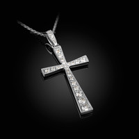 Diamond Studded Solid White Gold Cross Pendant Necklace