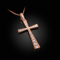 Diamond Studded Solid Rose Gold Cross Pendant Necklace