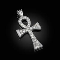 Diamond Studded Solid White Gold Egyptian Ankh Cross Pendant