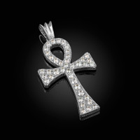 Solid White Gold Egyptian Ankh Cross CZ Pendant