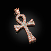 Solid Rose Gold Egyptian Ankh Cross CZ Pendant