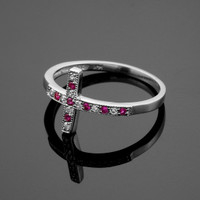 White Gold Diamond Sideways Cross Ring with Rubies