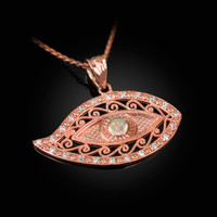 Rose Gold Evil Eye Diamond White Opal Filigree Pendant Necklace