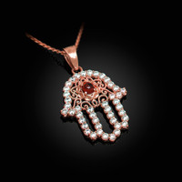 Diamond Studded Rose Gold Filigree Genuine Garnet Hamsa Charm Necklace