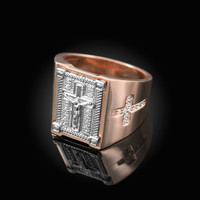 Two-Tone Rose Gold Diamond Cross White Boxed Crucifix Mens Ring