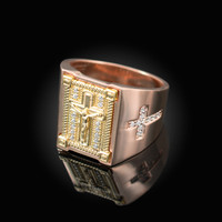Two-Tone Rose Gold Diamond Cross Yellow Boxed Crucifix Mens Ring