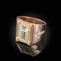 Tri-Tone Rose Gold Diamond Cross Yellow Boxed White Crucifix Ring