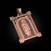 Rose Gold Filigree Guadalupe Sacred Heart of Jesus Diamond Pendant