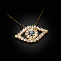 14K Yellow Gold Diamond Studded Evil Eye Blue Sapphire Necklace