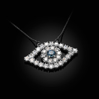 14K White Gold Diamond Studded Evil Eye Blue Sapphire Necklace