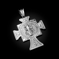 Solid White Gold San Benito Cross Reversible Pendant