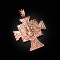 Solid Rose Gold San Benito Cross Reversible Pendant