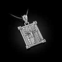White Gold Diamond Boxed Cross Pendant Necklace