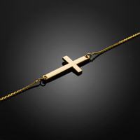 gold sideways cross bracelet